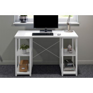 Shen Home Office Desk With Square Shelves (White)