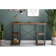 Shen Home Office Desk With Square Shelves (Walnut)