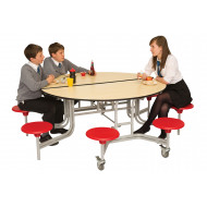 Round Mobile Dining Unit With 8 Seats
