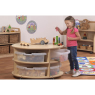 Playscapes Low Level Circular Storage Unit With Clear Tubs