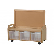 Playscapes Low Mobile Display Storage Unit With 3 Clear Tubs