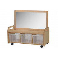 Playscapes Mobile Mirror Storage Unit With 3 Clear Tubs