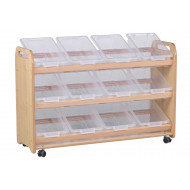 Playscapes Tilt Tote Storage Trolley With 12 Clear Tubs
