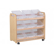 Playscapes Tilt Tote Storage Trolley With 9 Clear Tubs