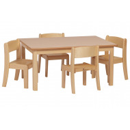 Wooden Rectangular Table And Chairs