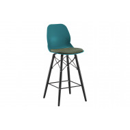 Lilly 4 Leg Bistro Stool With Upholstered Seat (Black Steel Frame)