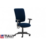 Tully Extra High Square Back Asynchro Operator Chair (Folding Arms)