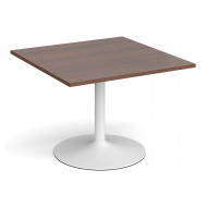 All Walnut Trumpet Base Square Extension Table