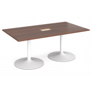 All Walnut Trumpet Base Power Ready Rectangular Boardroom Table