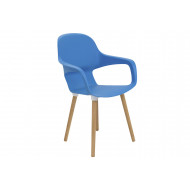 Booth Wooden Leg Bistro Chair (Blue)