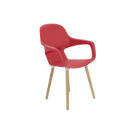Next-Day Booth Wooden Leg Bistro Chair (Red)