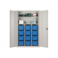 Elite Teachers Tray Storage Cupboard With 12 Extra Deep Trays