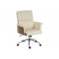 Panache Medium Back Executive Leather Chair Cream