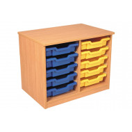 Premium Double Column Tray Storage Unit With 10 Shallow Trays