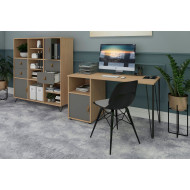 Valentine Rectangular Home Office Desk With Cupboard Pedestal