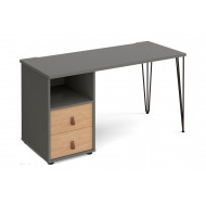 Valentine Rectangular Home Office Desk With Drawer Pedestal
