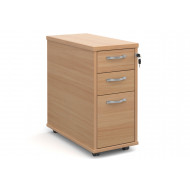 All Beech Tall Slimline Mobile 3 Drawer Pedestal