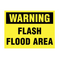 Warning Flash Flood Area Stanchion Sign