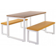 Ukiah Powder Coated Bench Set With Upholstered Seats