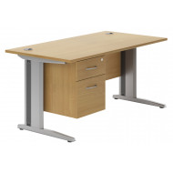 Astrada Deluxe C-Leg Single Pedestal Desk (Beech)