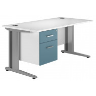Solero Deluxe C-Leg Single Pedestal Desk (Light Blue)