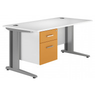 Solero Deluxe C-Leg Single Pedestal Desk (Orange)