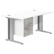 Next-Day Delgado Deluxe C-Leg Single Pedestal Desk (Platinum Oak)