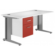 Solero Deluxe C-Leg Single Pedestal Desk (Red)