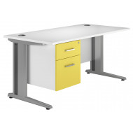 Solero Deluxe C-Leg Single Pedestal Desk (Yellow)