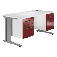 Illusion Deluxe C-Leg Double Pedestal Desk (Burgundy)
