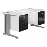 Illusion Deluxe C-Leg Double Pedestal Desk (Black Gloss)