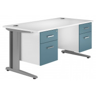 Solero Deluxe C-Leg Double Pedestal Desk (Light Blue)