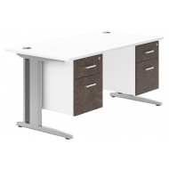 Next-Day Delgado Deluxe C-Leg Double Pedestal Desk (Pitted Steel)