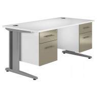 Illusion Deluxe C-Leg Double Pedestal Desk (Stone Grey)