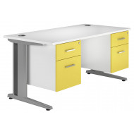 Solero deluxe C-leg double pedestal desk (yellow)