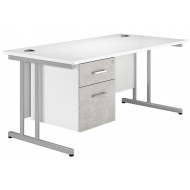 Next-Day Delgado C-Leg Single Pedestal Desk (Concrete)