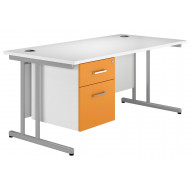 Next-Day Solero C-Leg Single Pedestal Desk (Orange)