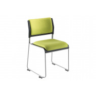 Pack of 2 Matton Sled Framed Stacking Chairs With Upholstered Seat & Back
