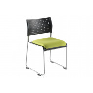 Pack of 2 Matton Sled Framed Stacking Chairs With Upholstered Seat
