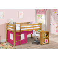 Diana Pine Mid Sleeper With Study Desk & Pink Tent