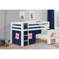 Diana White Mid Sleeper With Study Desk & Blue Tent