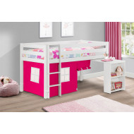 Diana White Mid Sleeper With Study Desk & Pink Tent