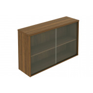 Noble Real Wood Veneer Glass Fronted Top Storage Cupboard