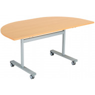 Pivot semi circular flip top table