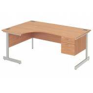 Proteus I Left Hand Ergonomic Desk With 2 Drawers