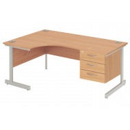 Proteus I Left Hand Ergonomic Desk With 3 Drawers