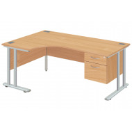 Proteus II Left Hand Ergonomic Desk With 2 Drawers