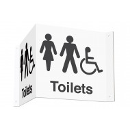 Male, Female & Disabled Toilets 3D Projecting Washroom Sign (Black Text)