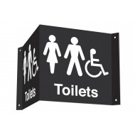 Male, Female & Disabled Toilets 3D Projecting Washroom Sign (White Text)