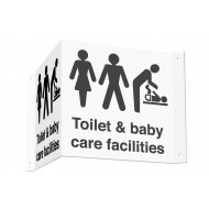 Toilet & Baby Care Facilities 3D Projecting Washroom Sign (Black Text)